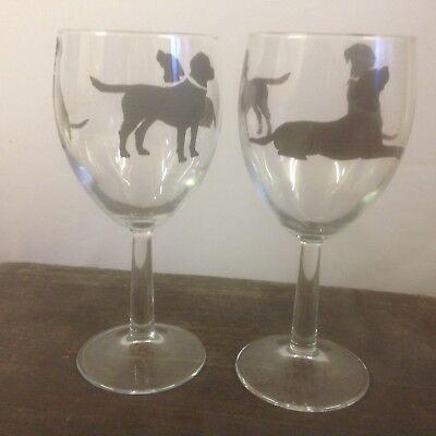 BLACK LABRADOR  DESIGN 2 LARGE WINE  GLASS