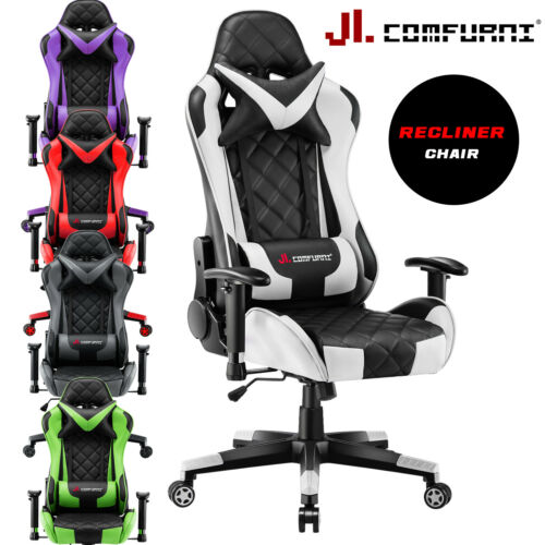 Computer Games - JL Comfurni Luxury Office Chair Swivel Recliner Gaming Computer Home Desk Chair