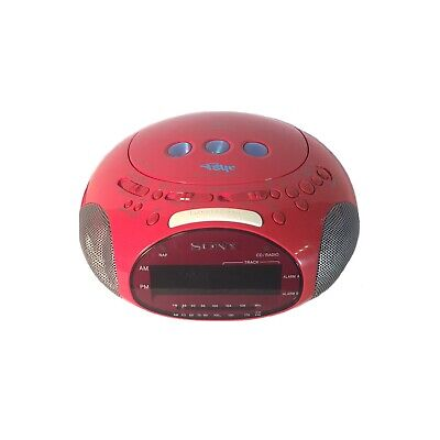 SONY Dream Machine PSYC Clock Alarm Radio CD Player Red ICF-CD831 Tested Works