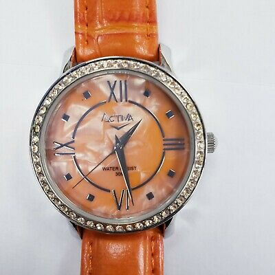 Activa Women's Swiss Quartz Analog Orange Leather Wrist Watch