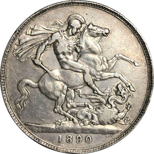 1890 Great Britain UK Crown Silver, Queen Victoria. Very Fine VF