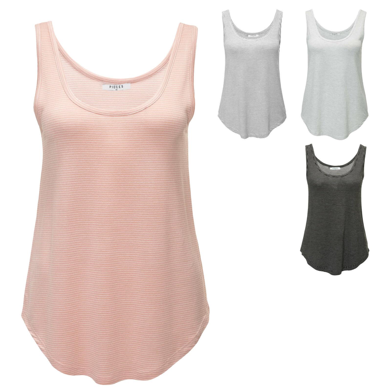 Pieces Damen Tank Top Sommertop Stretch T-Shirt Longtop Longshirt SALE %