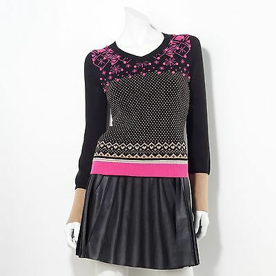 PRINCESS VERA WANG Womens Black Pink Gold SWEATER Snowflake Lurex Pom Pom Winter ()