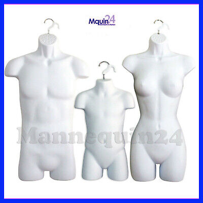 Male Female Child Torso Mannequin Set - 3 White Hanging Dress Body Forms