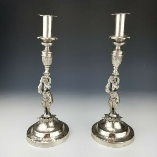 Pair of Spanish Colonial Silver Candlesticks with Figures 17th Century