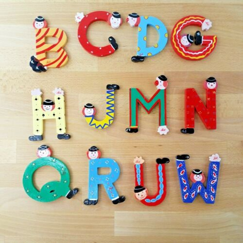 """Vintage Clown Themed Wooden Letters by SEVI- 4""""- Choose One"""
