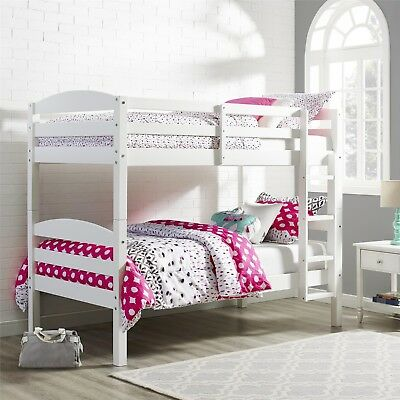 Bunk Bed Twin Over Twin Wood Convertible Bunkbeds Kids Ladder Furniture White