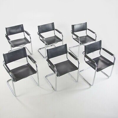 Set of 6 1970's Mart Stam S34 for Fasem Black Leather Chrome Dining Chairs Knoll for sale  Shipping to South Africa