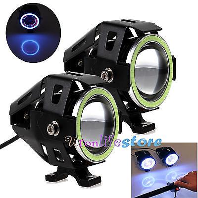 2x CREE U7 Angel Devil Eye Light 125W Motorcycle LED Fog Spotlight HeadLigh NEW