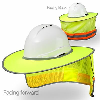 Hard Hat Sun Shield - High Visibility Reflective Full Brim Mesh Sun Shade