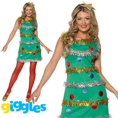 Womens Christmas Tree Costume (Christmas Tree Costume Womens Ladies Sexy Xmas Presents Fancy Dress Outfit)