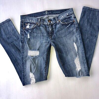 7 FOR ALL MANKIND LIGHT DISTRESSED ROXANNE SKINNY JEANS! 29 7 For All Mankind Jeans Roxanne