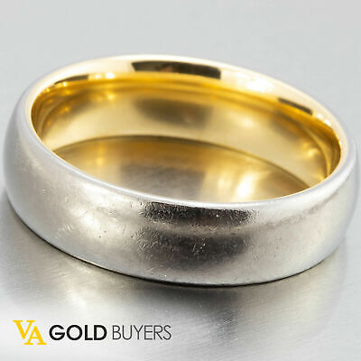 Men's Titanium Wedding Band with 18k Yellow Gold Liner - Size 10.5