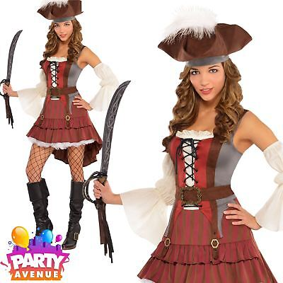 Ladies Castaway Pirate Lady Fancy Dress Costume Sexy Wench Womens Outfit