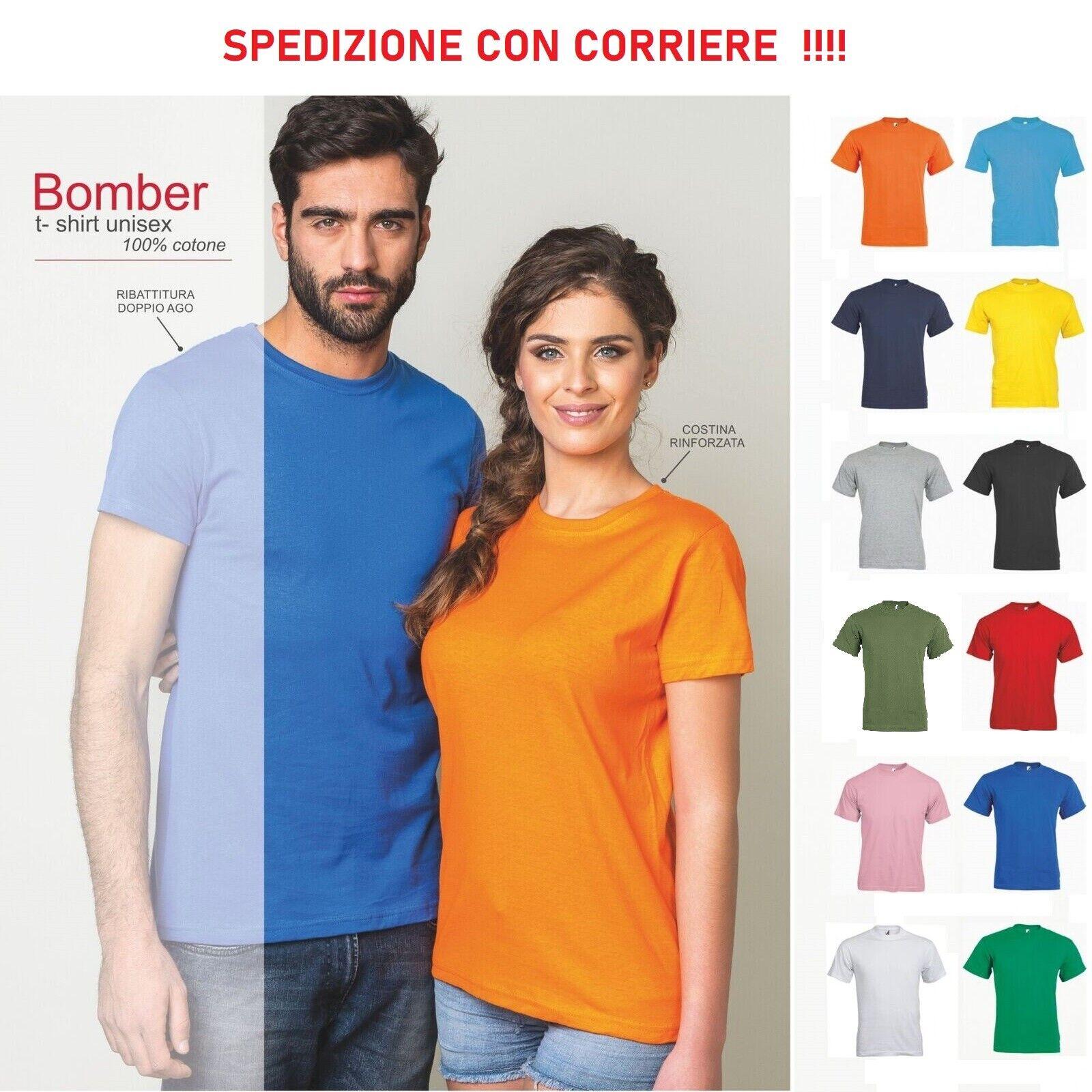 T Shirt Maglietta Manica Corta Cotone Uomo Donna Maniche Corte Lavoro Sport