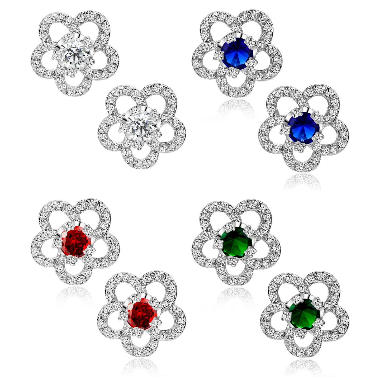 Womens Flower Cubic Zirconia & Austrian Crystal White Gold Plated Stud Earrings Earrings