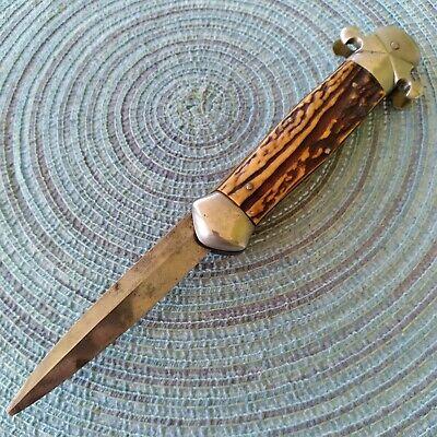 Vintage Antique Stag Funny Folder Locking Dirk Dagger Fighting Pocket Knife