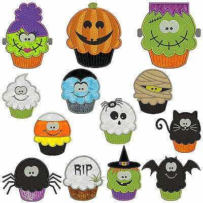 * HALLOWEEN CUPCAKES * Machine Applique Embroidery Patterns * 13 x 2