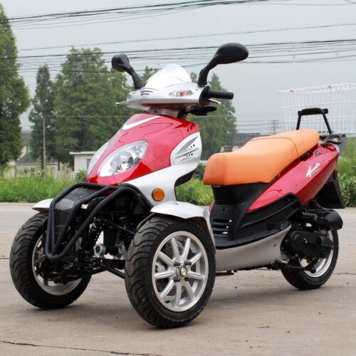 dongfang trike scooter gas moped red 3 wheels df50tka with rear carrier. Black Bedroom Furniture Sets. Home Design Ideas
