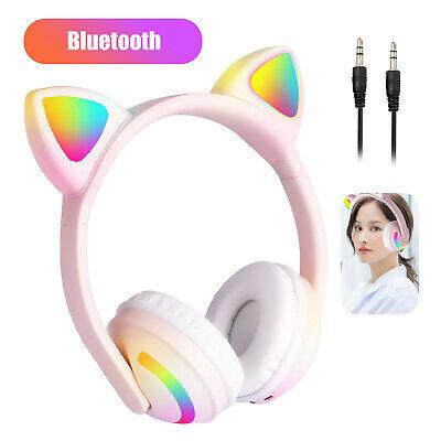 Kids Wireless Bluetooth Cat Ear Headphones LED Lights Mic Stereo Headset Phones