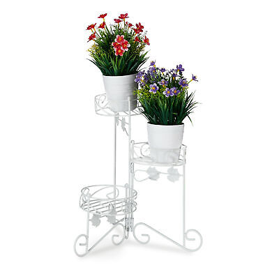 Blumenständer Metall Blumentreppe Blumenregal Pflanzentreppe weiß 3