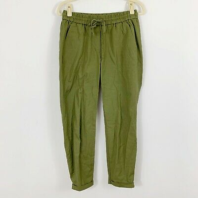 J.Crew Factory Linen Cotton Drawstring Pant Size 2 Green Style H5607 Casual