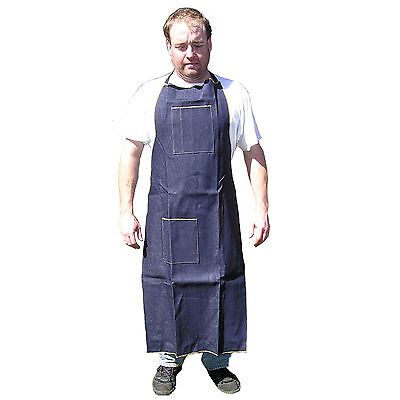 HAWK AD019 - Blue Denim Apron Long Knee High Wood Working Shop Use Home Catering