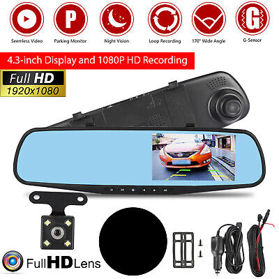 1080P Rearview Mirror Car DVR Dual Dash Cam Camera Front Rear HD Video Recorder