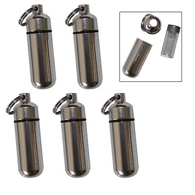 5 Pack Aluminum Pill Case Keychain ID Holder Silver with Inner Container (Flatware Case Pack)