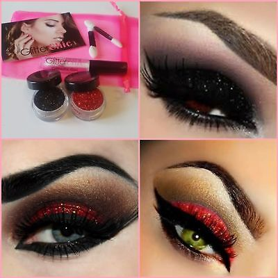 Halloween Party Glitter Eyes Make up Eyes Body  Red + Black + Fix Gel  Set - Halloween Makeup Black Eyes