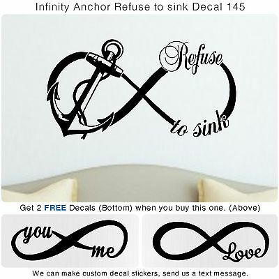 Infinity Anchor Love You Me  Quote Vinyl Wall Home Decor Art Sticker Decal S145