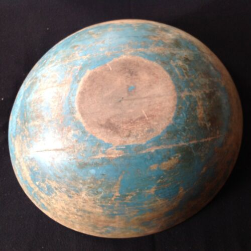 RARE ANTIQUE TURNED WOODEN BOWL IN ORIGINAL BLUE PAINT