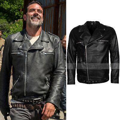 Mens Black Biker BRANDO Fashion The Walking Dead Negan Leather Jacket Costume