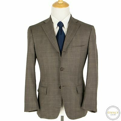 Isaia Napoli Cedar Brown S130s Wool Sharkskin Checked Dual Vents Suit 38S