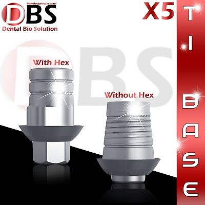 5x Cadcam Ti-base For Dental Implant With Without Hex Zirkonzahn Compatible
