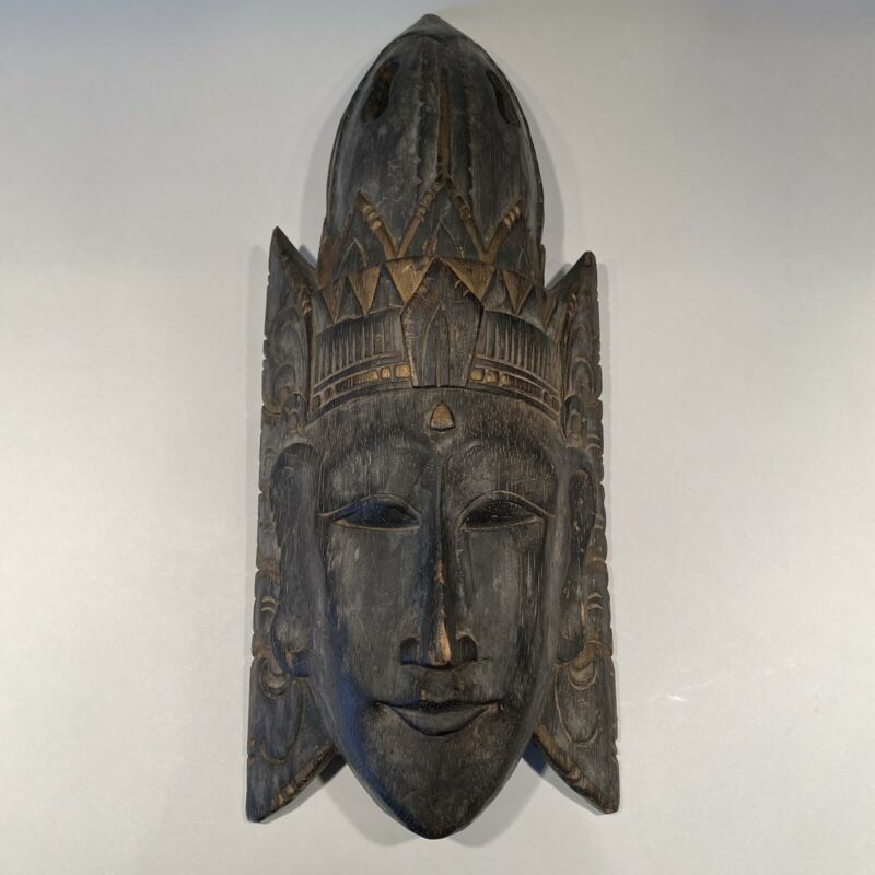 """Vintage 15"""" Tall Hand Carved Wooden African Tribal Mask w/ Head Dress / Crown"""