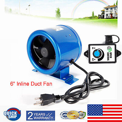 350cfm 6 Inch Inline Exhaust Cooling Duct Fan Vent Blower Wspeed Controller Us