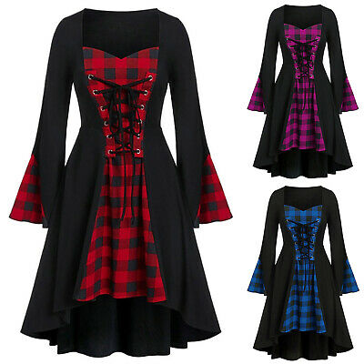 Damen Gothic Kleid V-Ausschnitt Wickelkleid Kariert Vintage Party Kostümkleid