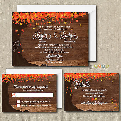 100 Personalized Fall Autumn Leaves Wedding Invitations Set with Envelopes 100 Personalized Wedding Invitations