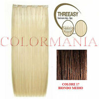 She Kit Threeasy 3 Fasce Extension Con Clip Colore 17 Biondo Medio Capelli Veri -  - ebay.it