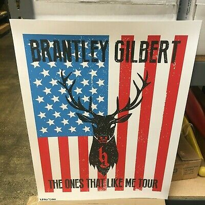 Brantley Gilbert 18x24 TOUR POSTER USA Deer Skull Country shelton church flag - Country Posters