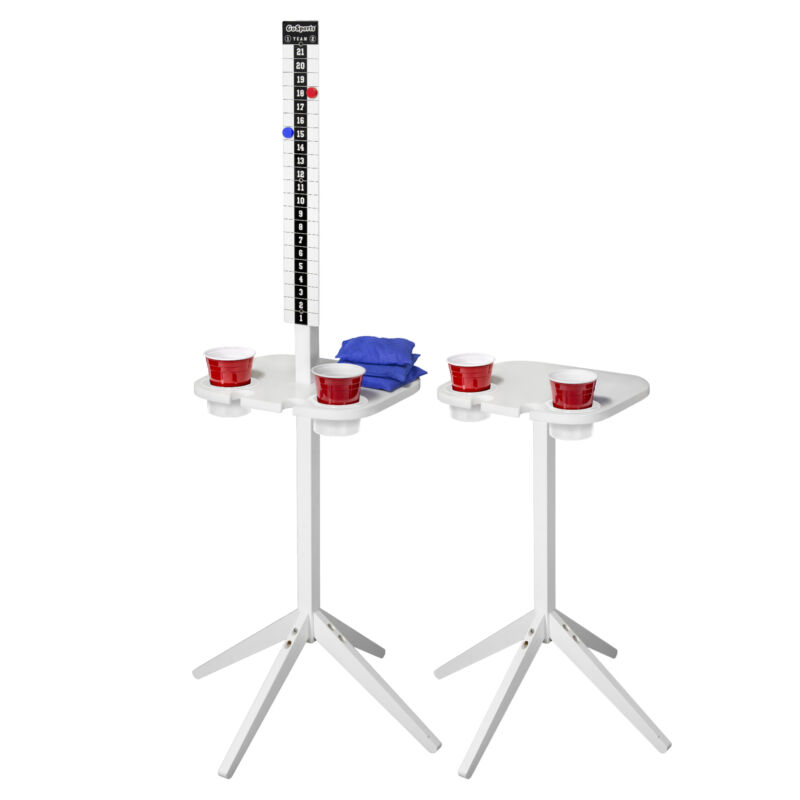 GoSports ScoreCaddy Lawn Game Score Keeper Drink Stand Table, White (Used)