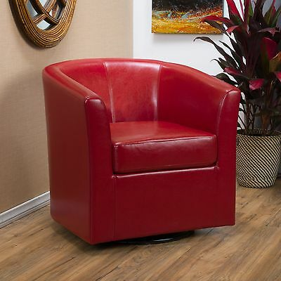 Contemporary Red Leather Swivel Club (Contemporary Swivel Club Chair)