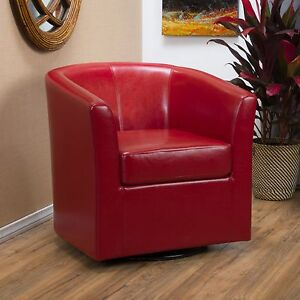 red leather swivel club chair