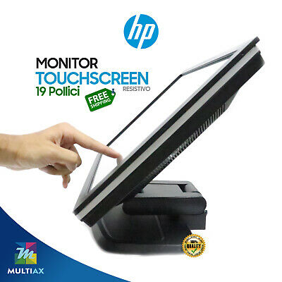 "Monitor Touch Screen HP 19"" Pollici 4:3 Usb VGA PC 10 Punti 1 Anno di Garanzia,"