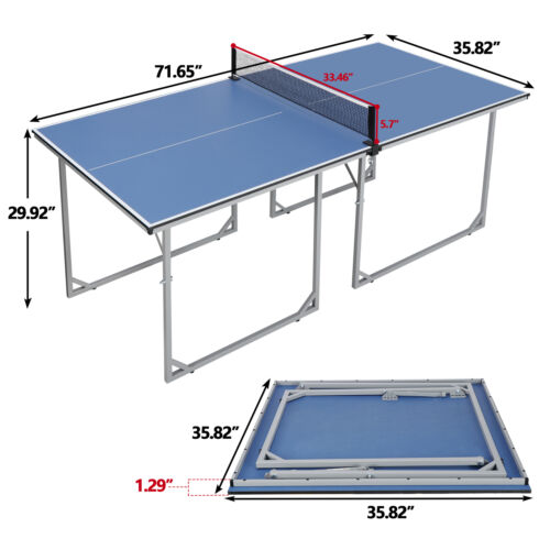 Table Tennis Ping Pong Table Indoor/Outdoor With Paddle Great for Small Spaces Indoor Games