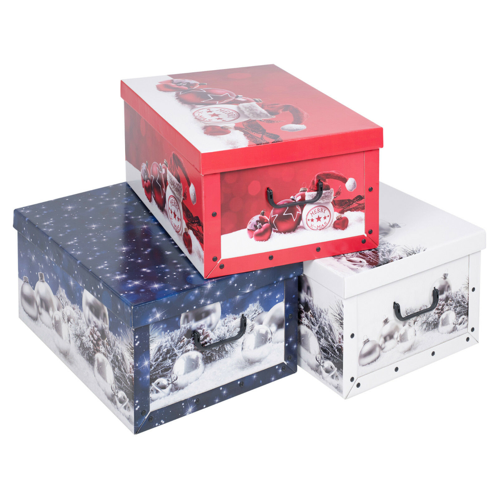 Christmas 3 Underbed Collapsible Cardboard Storage Boxes