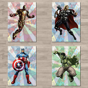 Set of 4 x Marvel / Avengers A4 canvas paper poster prints.
