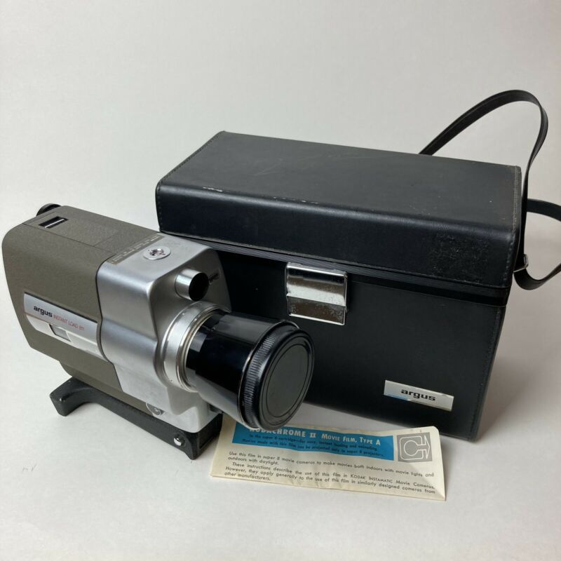 Argus Super Eight Instant Load 811 Home Movie Camera With Case Vintage