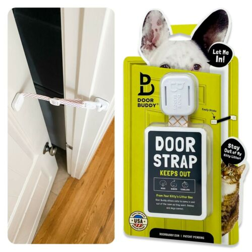 Adjustable Door Strap Cat Latch, Holds Door Open, Keep Dog Out of Litter Box, db